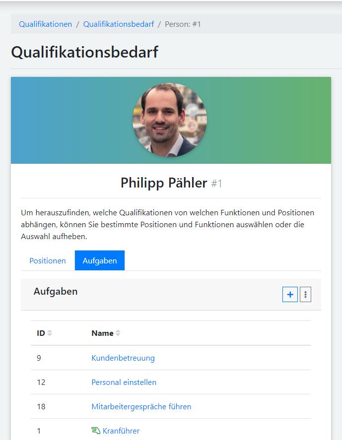 qmBase Software App Qualifikationen, Aufgaben zuweisen