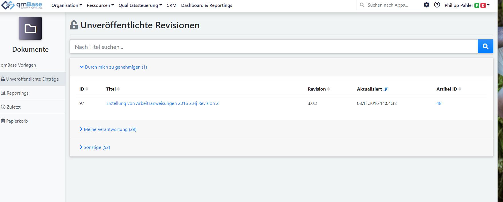Überarbeitete Version der Auflistung von unveröffentlichten Revisionen im Dokumentenmanagement