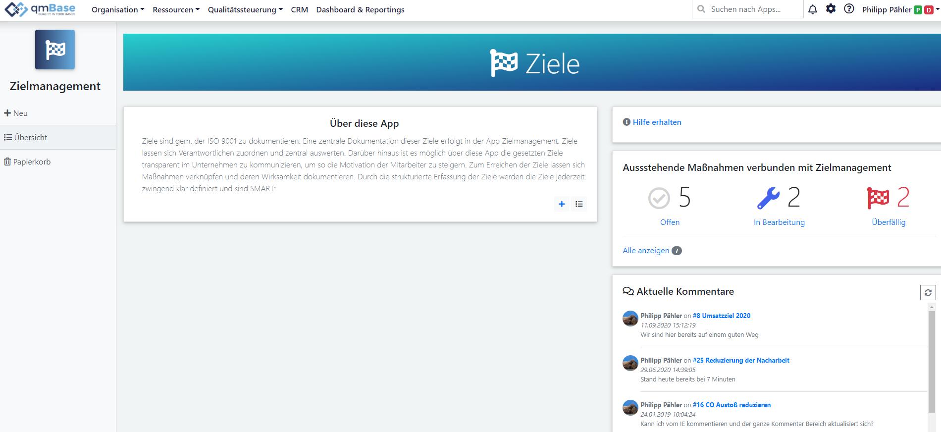 Darstellung der Maßnahmen in der Startseite der App Zielmanagement. qmBase