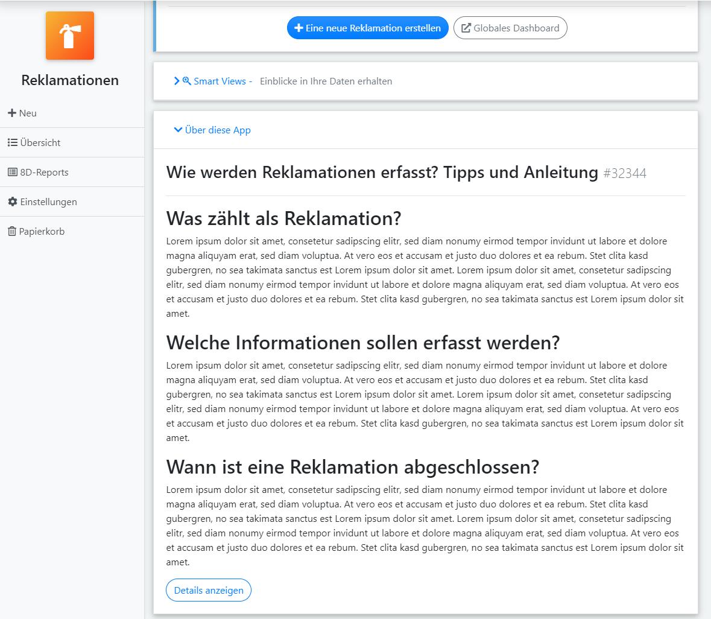 qmBase Softwaremanangement, Infotexte der App selbst gestalten