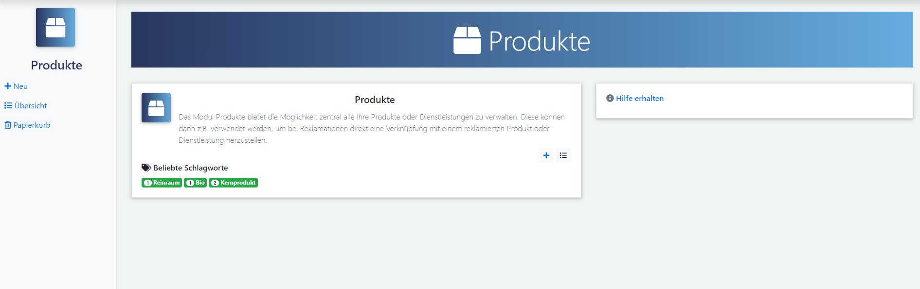 qmBase Software App Produkte Schlagwort Filter