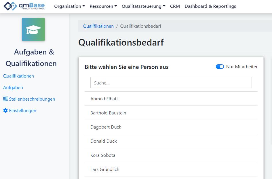 Aufgaben und Qualifikationen qmBase Software Qualifikationsbedarf