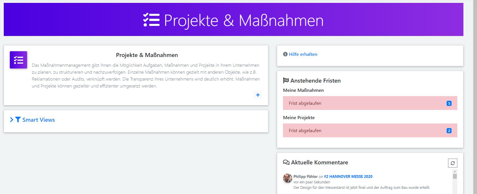 qmBase Software App Projekte und Maßnahmen